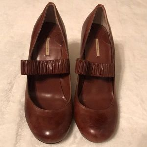 Max Studio Brown Leather Mary Jane Heels - Size 7M